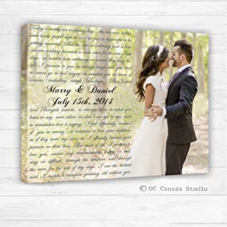 First Dance Lyrics/ Custom Canvas / Your Wedding Photo with your Lyrics/ Vows/ Love Story/ Holiday Photo Gift ideas/ Personal Photo, Mr. and Mrs.