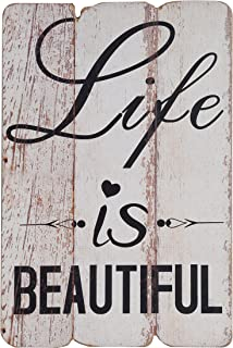 NIKKY HOME Life is Beautiful Rustic Wooden Wall Sign