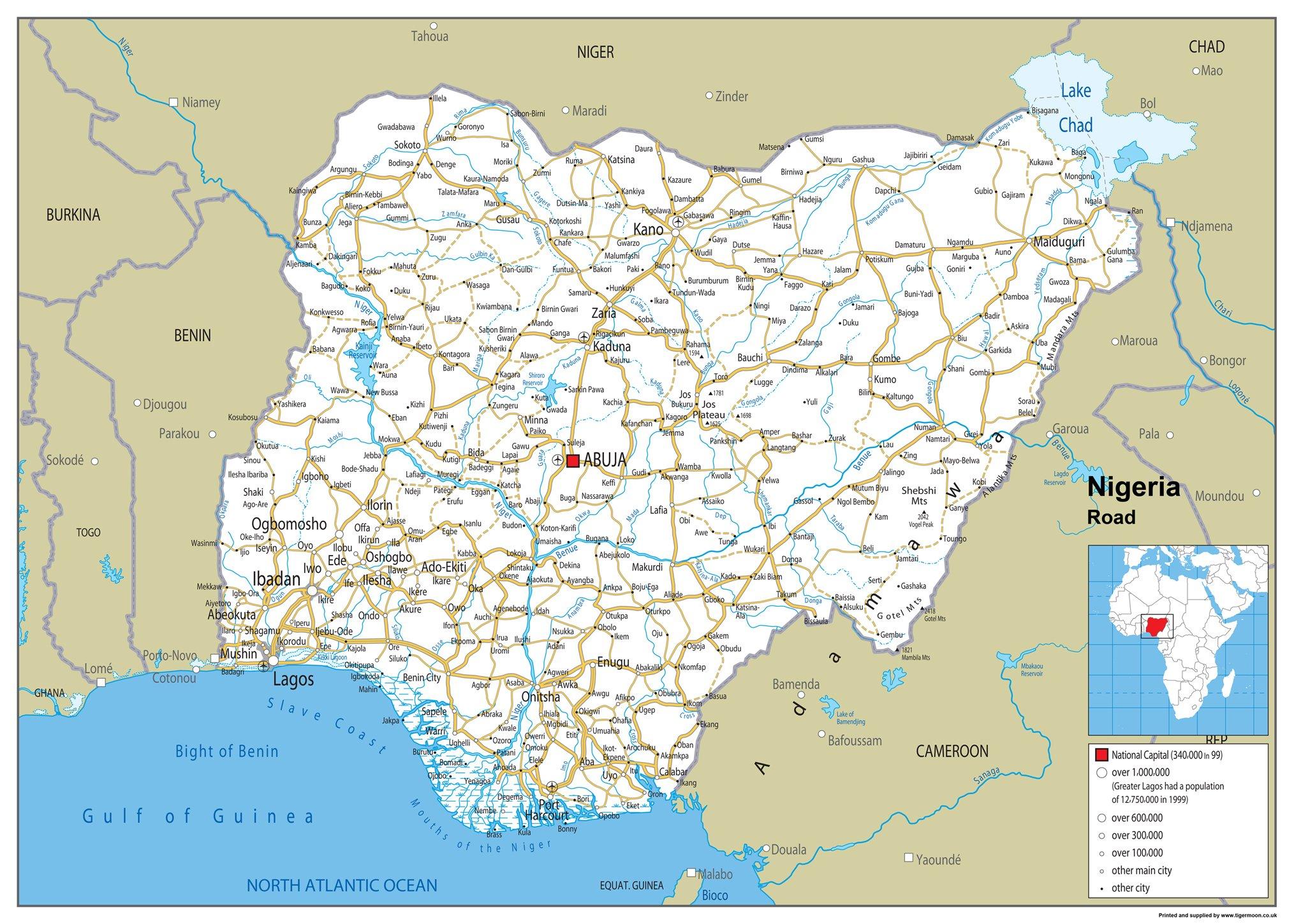 Nigeria Mapa mural de carretera – Papel laminado [ga] A1 Size 59.4 x 84.1 cm: Amazon.es: Oficina y papelería