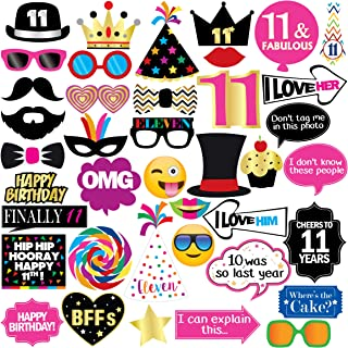 11th Birthday Photo Booth Party Props - 40 Pieces - Funny Kids Birthday Party Supplies, Decorations and Favors