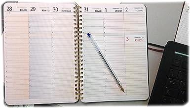 con giorni in alto ed orari A4 21x30cm Agenda settimanale Blocco spirale