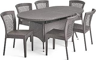 Christopher Knight Home Hamilton Outdoor 7 Piece Wicker Dining Set, Grey