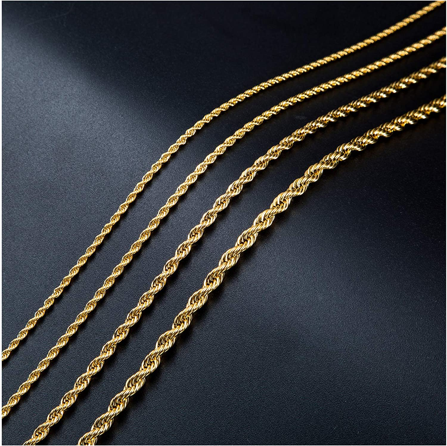 SANNYRA 2MM Mail order cheap 3MM 4MM 5MM Beauty products Gold Plated Stainle Chain Twist Necklace