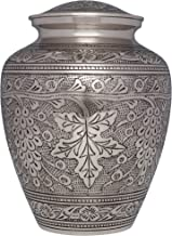 Silver Wine Grape Vines Funeral Urn - Cremation Urn for Human Ashes -Hand Made in Brass -Suitable for Cemetery Burial or Niche- Large Size fits Remains of Adults up to 200 lbs- Bordeaux Model
