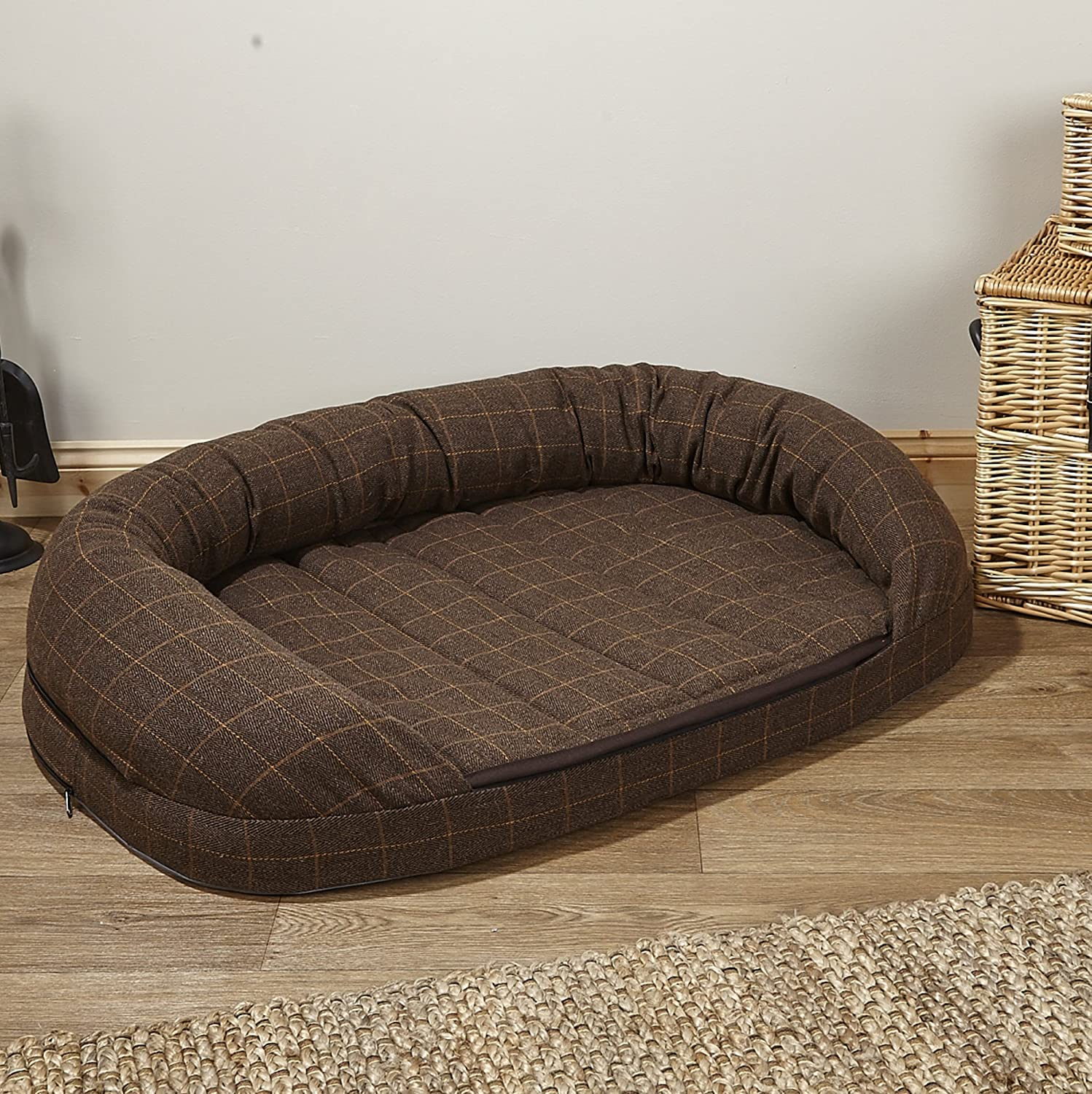 Over The Top Premier Tweed OTT Memory Foam Dog Bed, Brown Tweed, King Size