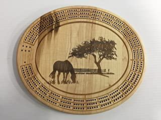 Tree and Horse Cribbage Board