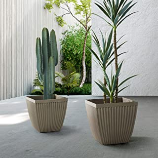 Glitzhome GH20292 Eco-Friendly Planters – Modern Decor Faux Concrete Fluted Square Indoor or Outdoor Planting Pots with Dr...