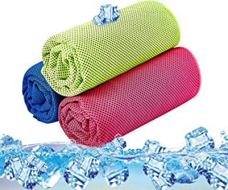 featured product Cooling Towel Pack of 3 Sports Towels SKL Stay Cool Towel for Sports, Swimming, Women, Yoga, Workout, Athletes, Gym, Neck, Golf, Travel 36 inch x 12 inch - 3PCS Red Blue Green