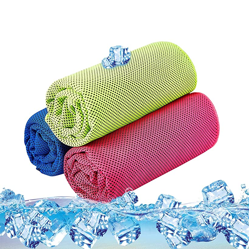Cooling Towel Pack of 3 Sports Towels SKL Stay Cool Towel for Sports, Swimming, Women, Yoga, Workout, Athletes, Gym, Neck, Golf, Travel 36 inch x 12 inch