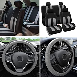 FH Group Fabric Full Set Seat Covers (Airbag & Split) w. Silicone Steering Wheel Cover, Gray/Black- Fit Most Car, Truck, SUV, or Van