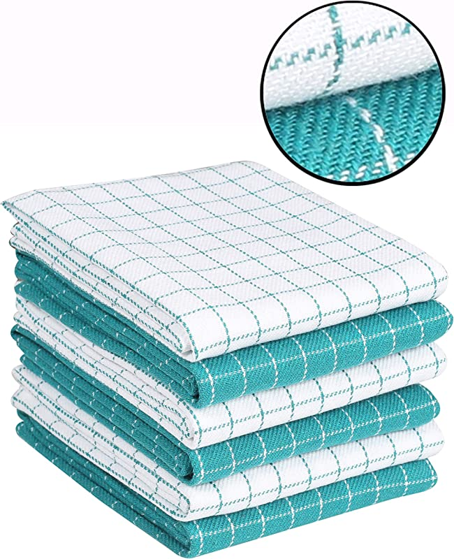 Ramanta Home 6 Pack Window Pane Waffle Dish Towels Kitchen Towels 16x26 Teal