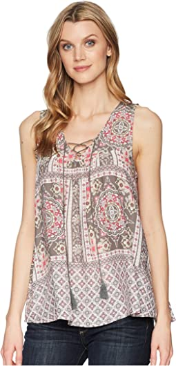 1574 Sleeveless Scarf Print Peasant Top