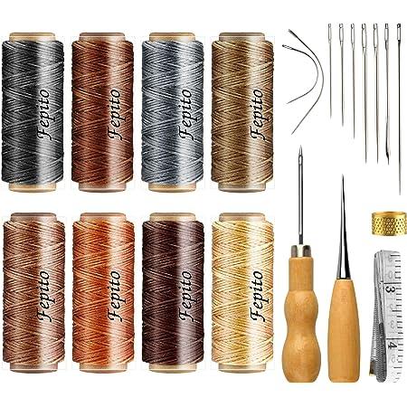 FEPITO 21pcs en Cuir Fil Ciré 8 Couleur 264 Verges 150D en Cuir À Coudre Fil Ciré Cordon avec Cuir Artisanat Outils À La Main Kit pour DIY Couture Artisanat (Waxed Thread+Tools)