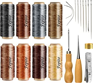 FEPITO 21pcs Leather Waxed Thread 8 Color 264 Yards 150D Leather Sewing Waxed Thread Cord with Leather Craft Hand Tools Ki...
