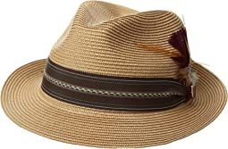 Stacy Adams - Poly Braid Pinch Front Fedora with Fancy Band