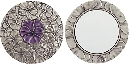 product image for DANFORTH - Pansy Purse Mirror (Purple) - Pewter - 3 Inch Diameter - Handcrafted - Gift Boxed
