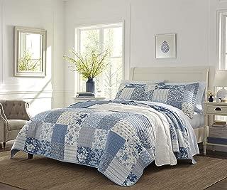 Laura Ashley Paisley Patchwork Quilt Set, Twin, Blue