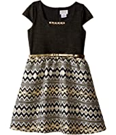 Us Angels - Cap Sleeve Beaded Neckline w/ Full Skirt (Big Kids)