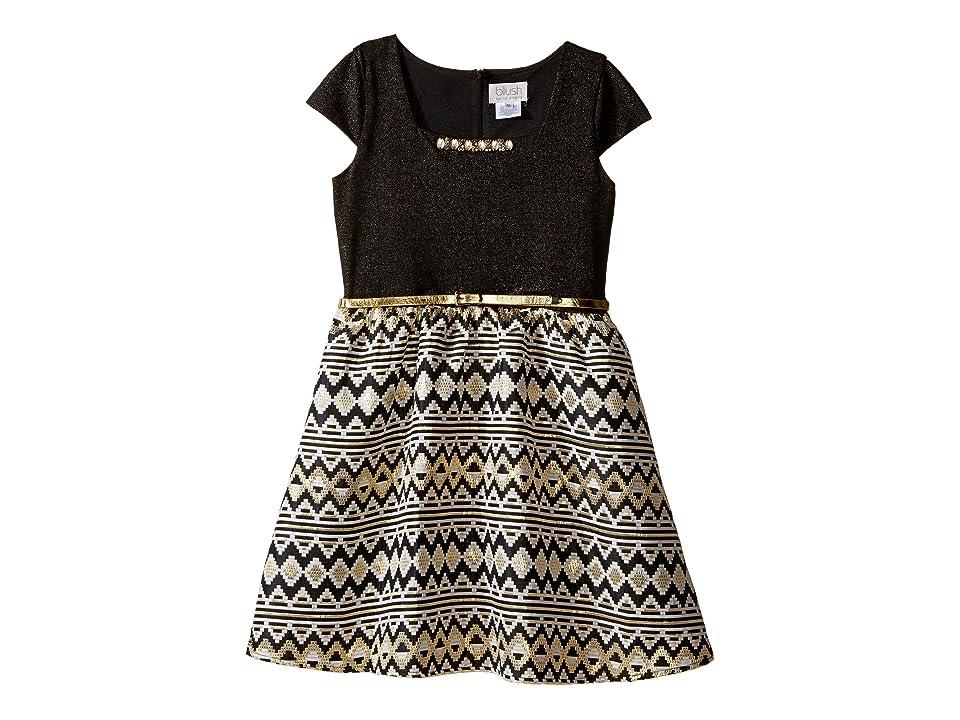 Us Angels Cap Sleeve Beaded Neckline w/ Full Skirt (Big Kids) (Black) Girl