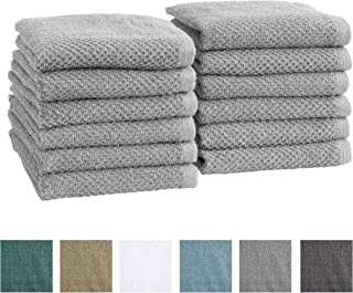 12-Pack 100% Cotton, Quick-Dry Textured Washcloths. Ultra-Absorbant, Popcorn Weave. Acacia Collection. (Wash 12pk, Light Grey)