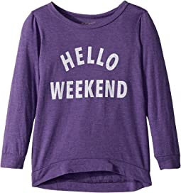 The Original Retro Brand Kids - Hello Weekend 3/4 Tri-Blend Pullover (Little Kids/Big Kids)
