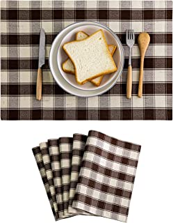 طقم مفارش منزلية بارعة من 6 طاولات طعام قابلة للغسل وطاولة منقوشة بنمط الجاموس لطاولة المطبخ، 33 سم × 48 سم، لون أزرق وكريمي