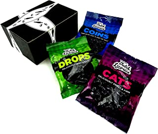 Gustaf's Dutch Black Licorice 3-Flavor Variety: One 5.2 oz Bag Each of Drops, Cats, and Coins in a BlackTie Box (3 Items Total)