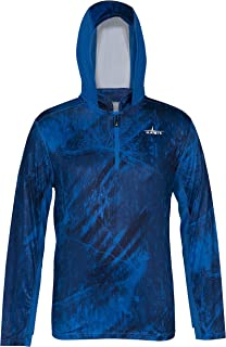 HABIT Men's Hooded 1/4 Zip Performance Layer, RT Fishing Directoire Blue/Directoire Blue, Small