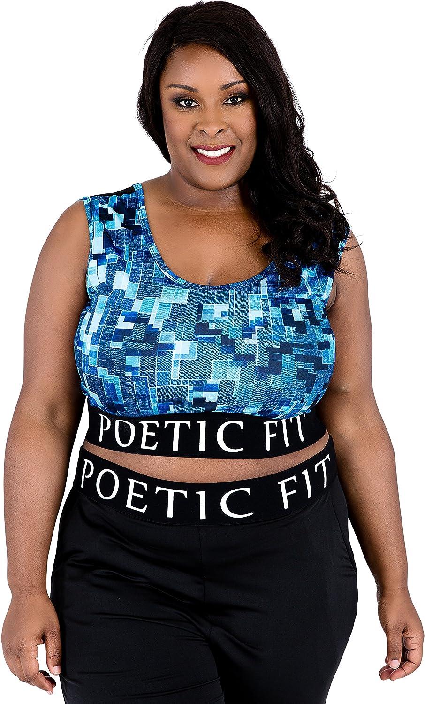 Poetic Justice Plus Size Curvy Women Blue Geometric Print Sports Bra Mesh V-Back