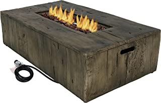 Sunnydaze Rustic Propane Gas Fire Pit Table with Outdoor Weather-Resistant Durable Cover and Lava Rocks - Faux Wood Patio Fire Table - 48-Inch