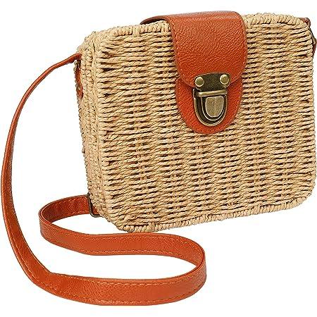 MaoXinTek Stroh Crossbody Tasche Frauen Weben Umhängetasche Böhmen Sommer Strand Geldbörse und Handtaschen für Reisen, Verabredung und Urlaub