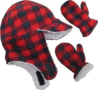 N'Ice Caps Little Boys and Baby Sherpa Lined Fleece Flap Hat Mitten Winter Set