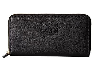 Tory Burch McGraw Zip Continental Wallet (Black) Bill-fold Wallet