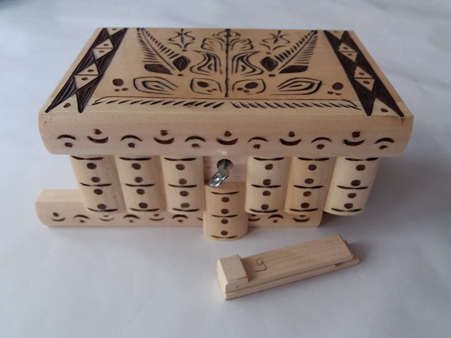 New special Fixed price for sale natural with brown carving magic myst box puzzle big Washington Mall