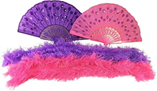 Butterfly Twinkles Dress up Sequined Fans and Featherless Boas Pink and Purple Costume Accessories