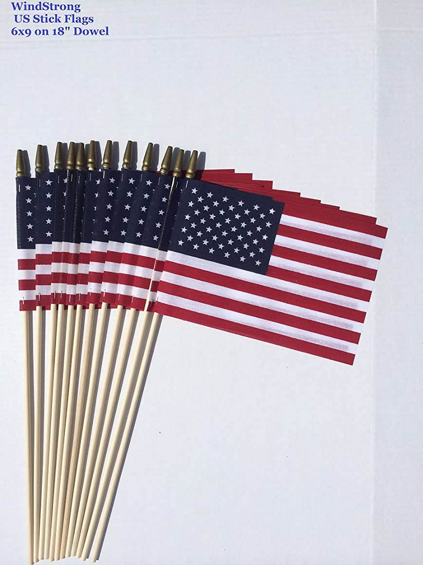 Lot of -12- 6x9 Inch US American Hand Held Stick Flags Spear Top on 18