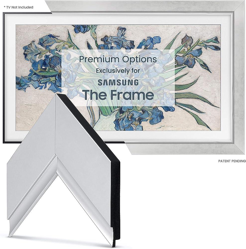 Frame my tv cornice in argento contemporanea per samsung the frame tv  55 pollicic FRM-SF-D4013-55