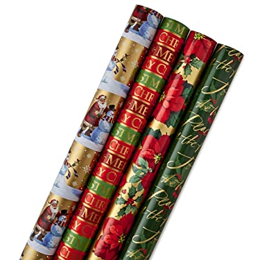 Hallmark Paquete de papel de regalo de Navidad reversible, tradicional (paquete de 4, 150 pies cuadrados)