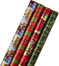 Hallmark Reversible Christmas Wrapping Paper Bundle, Traditional (Pack of 4, 150 sq. ft. ttl.)