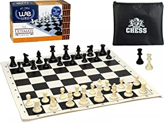 WE Games Compact Tournament Chess Set w/ 20 in. Black Silicone Board & Plastic Pieces 3.75 in. King