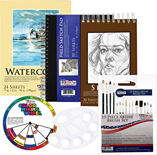 طراحی هنری، نقاشی و نقاشی هنرمند 20 قطعه هنری ایالات متحده - بسته لوازم جانبی کاغذ و قلم مو