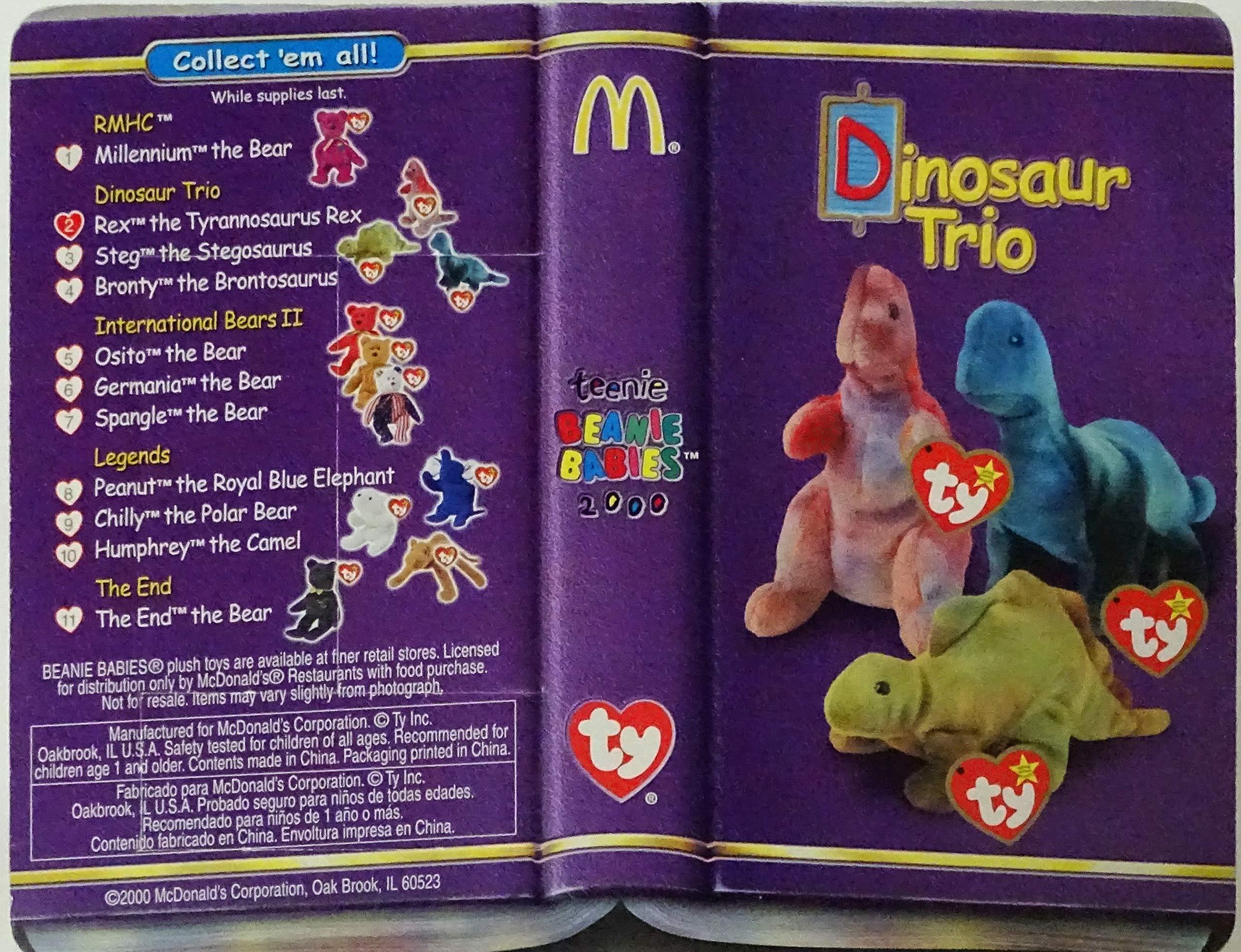 Lot of 3 McDonalds TY Teenie Beanie Babies 2000 Collection REX,STEG,BRONTY