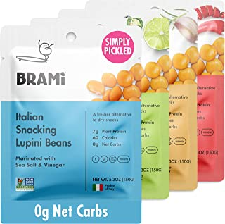 BRAMI Lupini Beans Snack, Variety Pack | 7g Plant Protein, 0g Net Carbs | Vegan, Vegetarian, Keto, Plant Based, Mediterran...