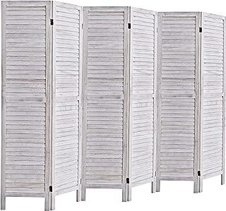 RHF 6 Panel 5.6 Ft Tall Wood Room Divider, Wood Folding Room Divider Screens, Panel Divider&Room Dividers, Room Dividers and Folding Privacy Screens (6 Panel, Coconut)