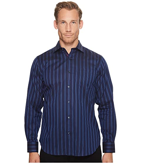 bugatchi long sleeve classic fit point collar w/ pocket