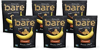 Bare Baked Crunchy Banana Chips, Cinnamon, Gluten Free, 2.7 Ounce Bag, Pack of 6