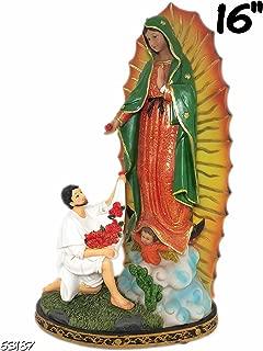 16 Inch Statue Our Lady Of Guadalupe W/ San St Juan Diego Saint Estatua Virgen