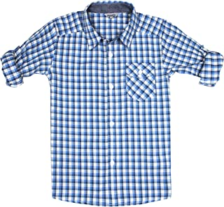 Bienzoe Boy 's Cotton Plaid Roll Up Sleeve Button Down Sports Shirts