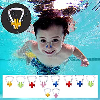 Pinzas de Nariz para Natación - Pack 10 Pinzas de Silicona Tapones de Nariz - Ayuda para Nadar Adultos y Niños, Hacer Kayak, Buceo Libre, Nado Sincronizado - Kit Respirar Principiantes, Competencias