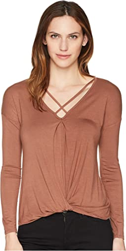Long Sleeve Knit Crisscross Neckline